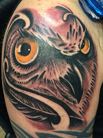 Owl on shoulder!
