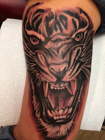 Tiger face - back of arm - no outline