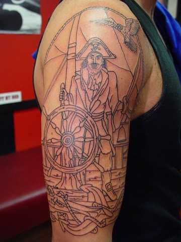 Start of a pirate half sleeve