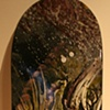 """""""Chasing"""" Acrylic on Skateboard deck. $650 (SOLD)"""