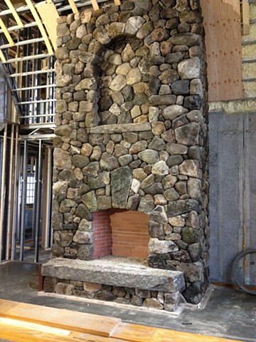 New Hampshire Fieldstone Fireplace