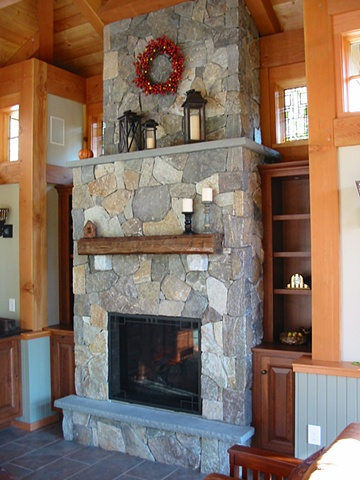 Waterville Valley stone gas fireplace