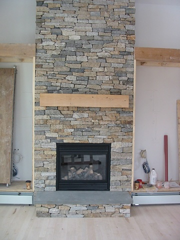 Ledgestone gas fireplace