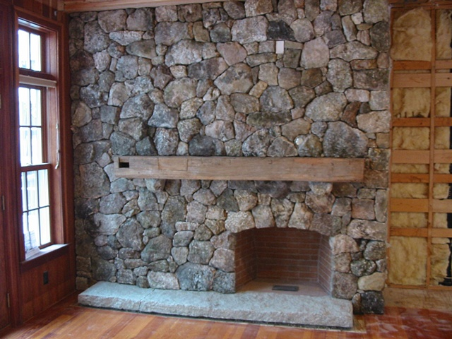 New Hampshire fieldstone fireplace