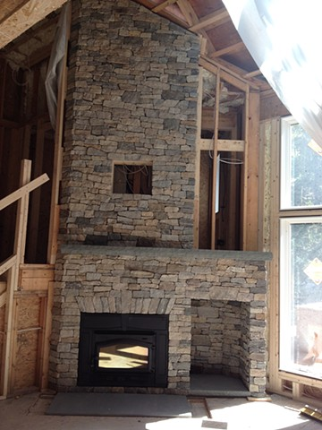 Thin veneer fireplace at Loon Mountain