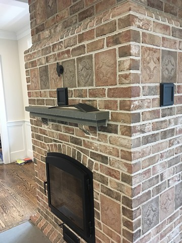 Bluestone hearth and mantle details