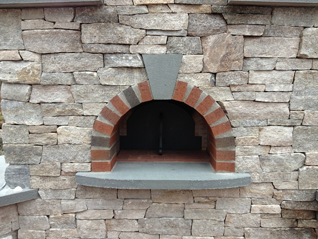 Pizza oven door natural stone and brick