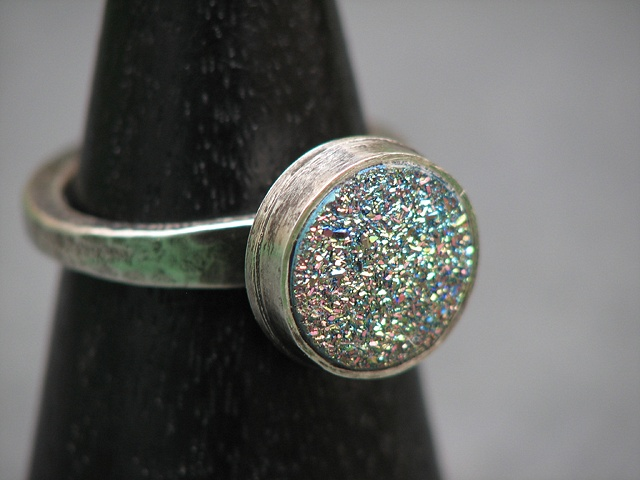 Sterling and Green Druzy Ring