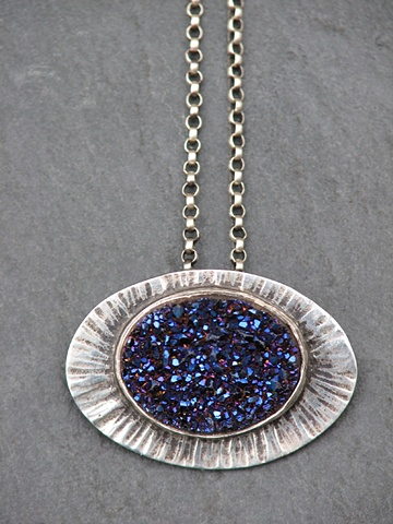 Sterling and Blue Druzy Pendant