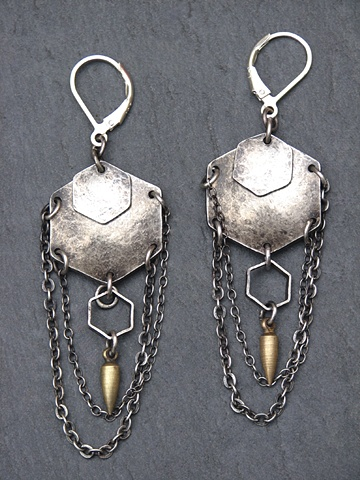 Sterling Hex and Chain Spike Earring