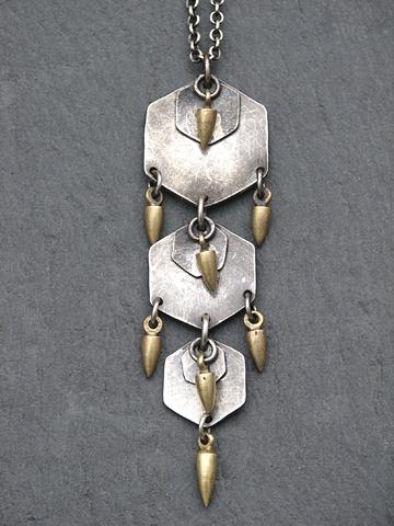 Sterling Triple Hex Spike Pendant