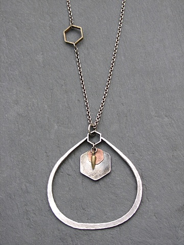 Large Sterling Tri Hex Pendant