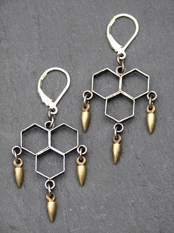 Sterling Honeycomb Spike Earrings