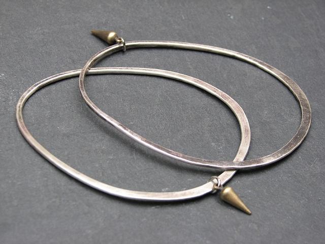 Sterling Egg Bracelets with Brass Spike