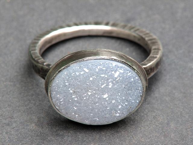 Ice Blue Druzy Ring