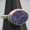 Sterling and Plum Druzy Ring