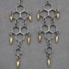Sterling Honeycomb Spike Chandelier Earrings