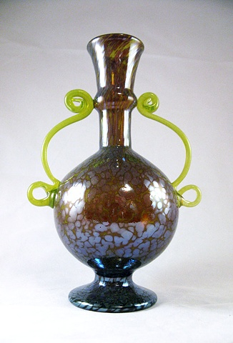 Golden Green Blown Glass Bottle