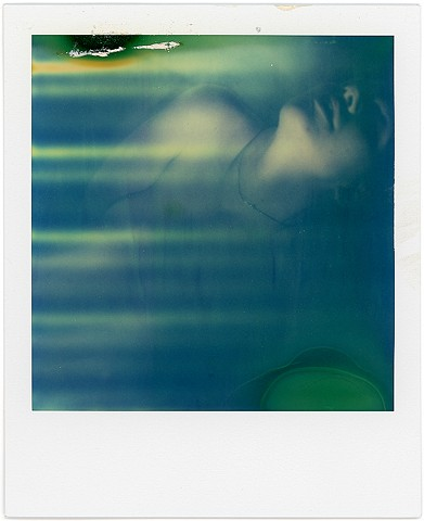 Expired SX70 film, polaroid, blue, naked, nude, teresa, green, portrait, rollers, analog, analogue, instant, photgraphy