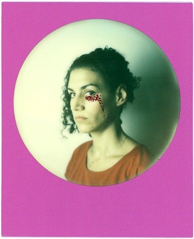 impossible project, color, film, analog, analogue, portrait, photography, by urizen freaza, round frame, sx70, glitter, red, tears