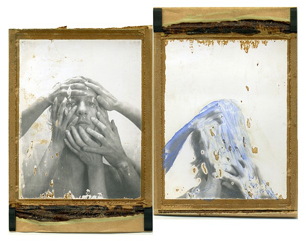 kuleshov effect, polaroid, instant photography, painted, watercolors, disappear, expired, film, analog, analogue, dream, bastian kalous, by urizen freaza, lev kuleshov, perception, dimensions, layers, diptych