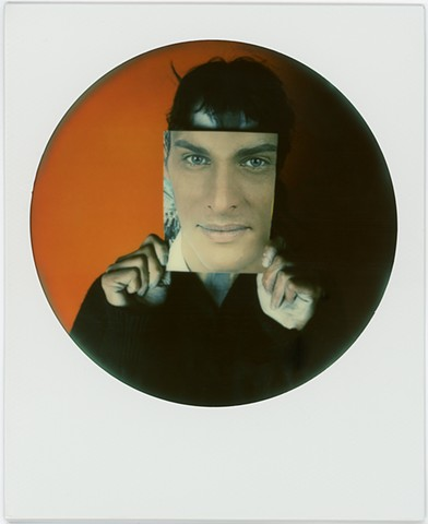 impossible project, color, film, analog, analogue, portrait, photography, by urizen freaza, round frame, sx70, moustache