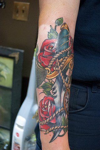 traditional inspired dagger and watch tattoo by chris lowe of naked art tattoos