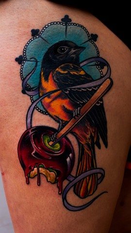 candy apple and bird tattoo by chris lowe of naked art tattoos