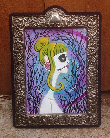 chandarchandar, painting, mixed media, watercolor, acrylic, green hair, goth girls, trees, sunset, day of the dead, zombie girl, dia de los muertos