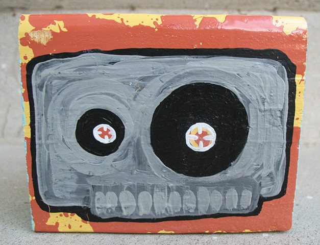 chandarchandar, panting, wood, reclaimed wood, found wood, acrylic, spray paint, mixtape, skull