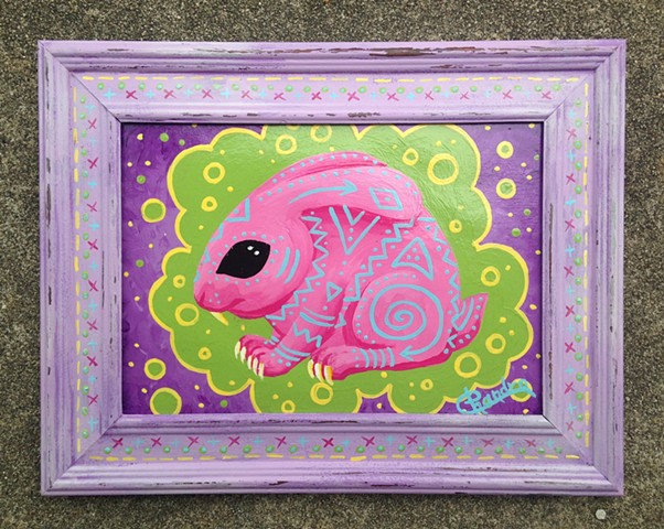chandarchandar, painting, acrylic, rabbit, bunny, easter bunny, pink, green, purple, tribal, cute