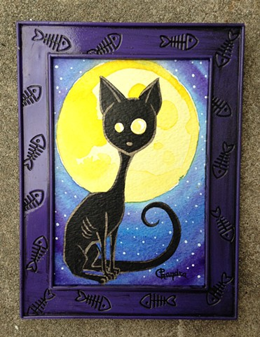 painting, watercolor, black cat, full moon, chandarchandar,