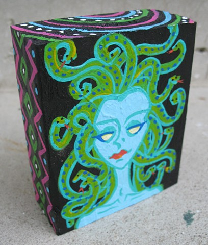 chandarchadar, painting, acrylic, wood, reclaimed wood, recycled wood, medusa, green, blue, snakes