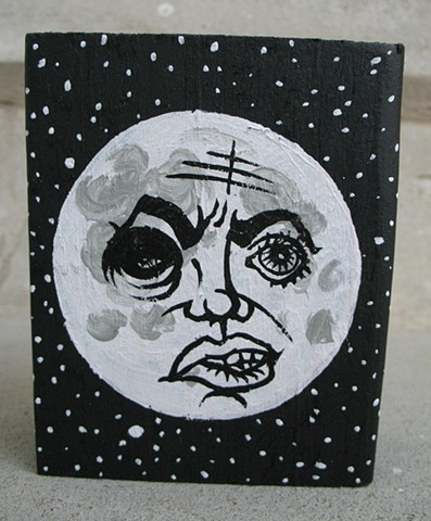 chandarchandar, painting, acrylic, moon, stars, man in the moon, wood, reclaimed wood, found wood