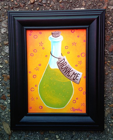 painting, drink me, acrylic, chandarchandar, alice in wonderland, bottle, green, orange, potion