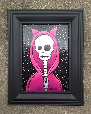 chandarchandar, acrylic, painting, skeleton, cat, hoodie, pink, stars, black,