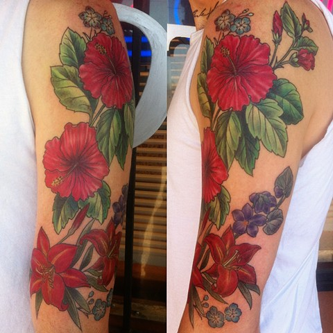 hibiscus and lilies