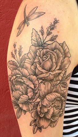 rose and peonies