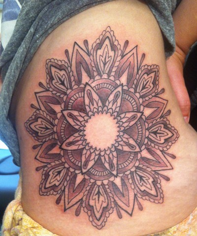 black and grey mandala
