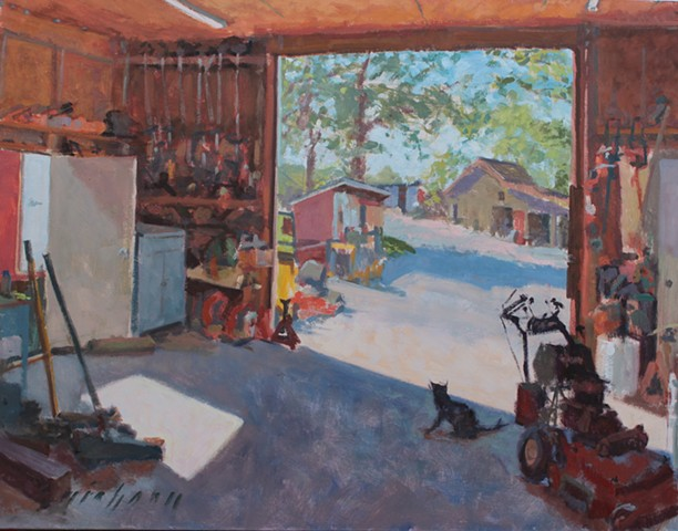 plein air impressionistic painting small engine workshop kuhlman lawn service
