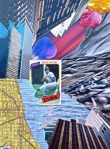 Collage by John Schuh featuring Bruce Sutter, baseball card, Chicago, architecture, map, flowers, water, sand, sunset.