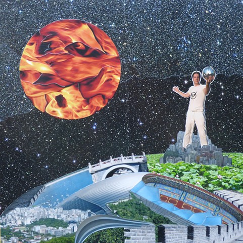 """Suns of Mercury"" - Collage by Vashon Artist John Schuh."