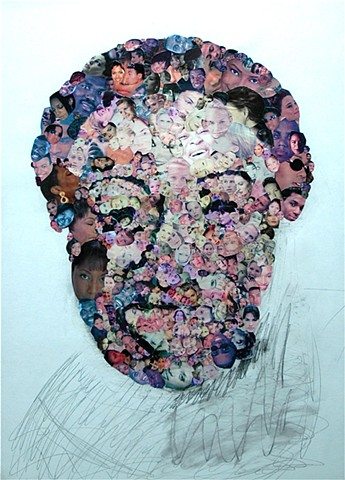 Collage by John Schuh featuring heads, faces.