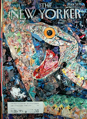 Collage by John Schuh featuring New Yorker covers, snake.