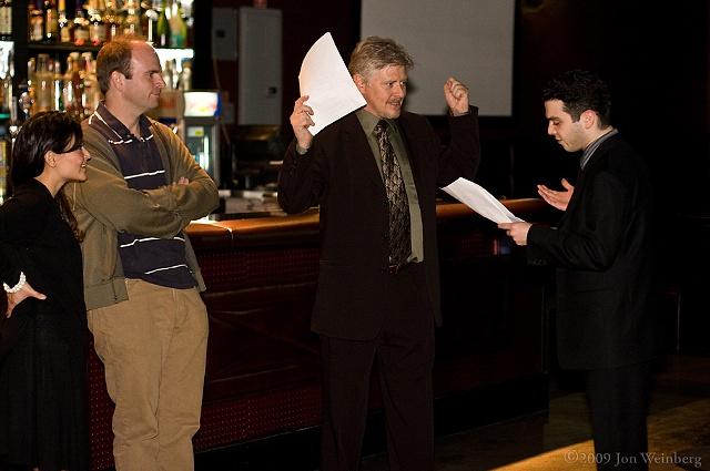 rehearsing-Dave Foley, Samm Levine, Joel Spence & Romi Dames