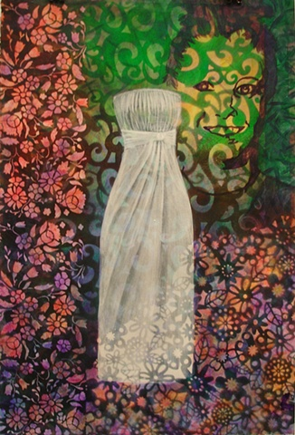 painting of white wedding or prom dress on floral patterned background, multi-colored