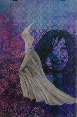 painting of ghostly wedding dress on blue and purple background
