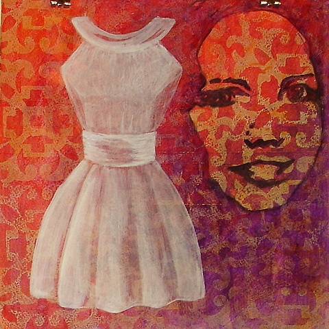 painting of Paxton, white casual wedding party dress on pink purple background