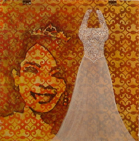 contemporary painting of  wedding dress on rusty reddish brown and yellow ochre, gold background