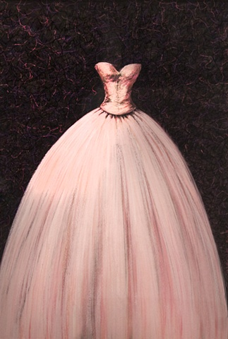pastel drawing of a pink prom or quincinera dress on black background